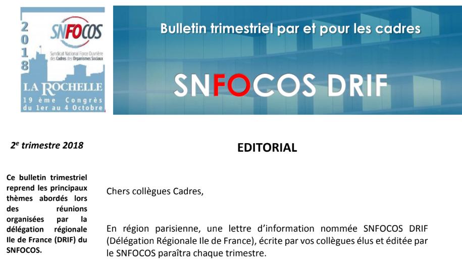 Délégation Régionale d'Ile de France du SNFOCOS parution d'un bulletin trimestriel